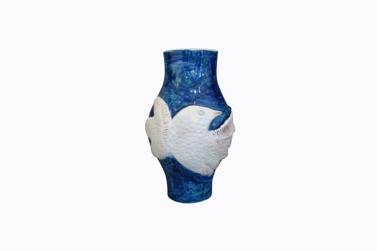 Grand vase bleu à l'oiseau...