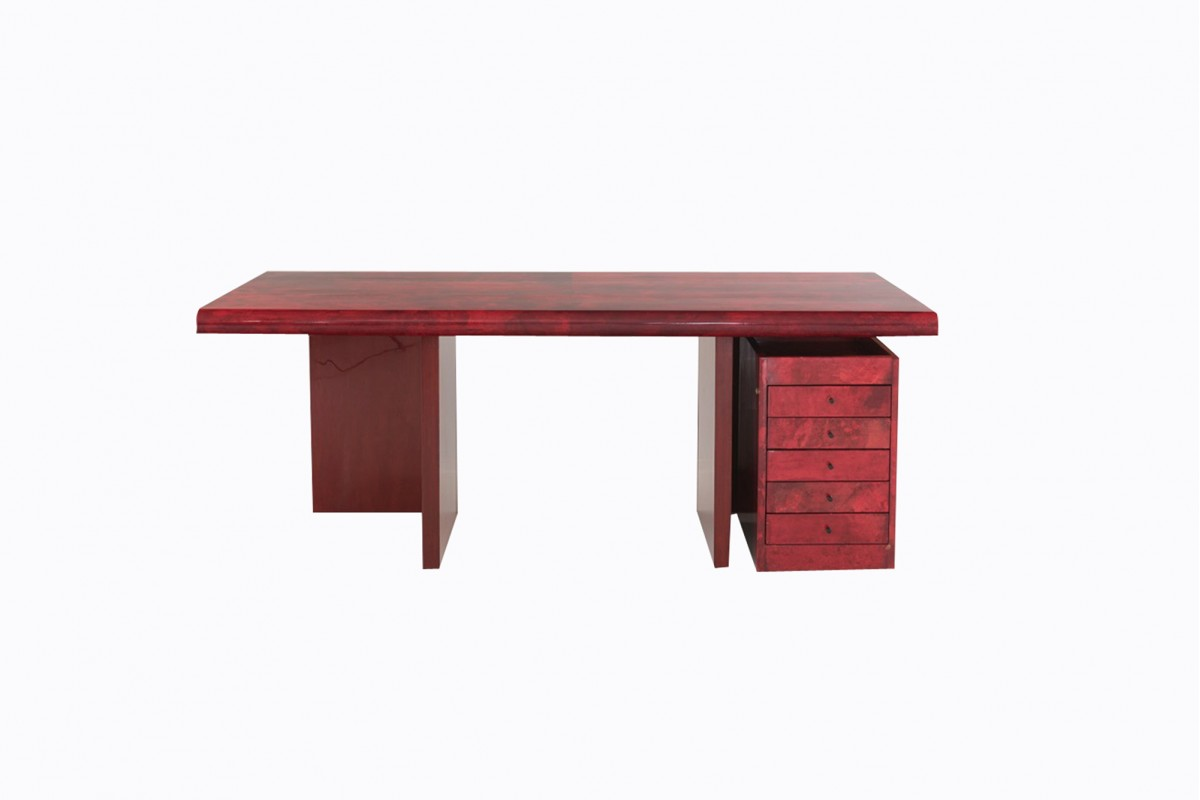 Large red desk