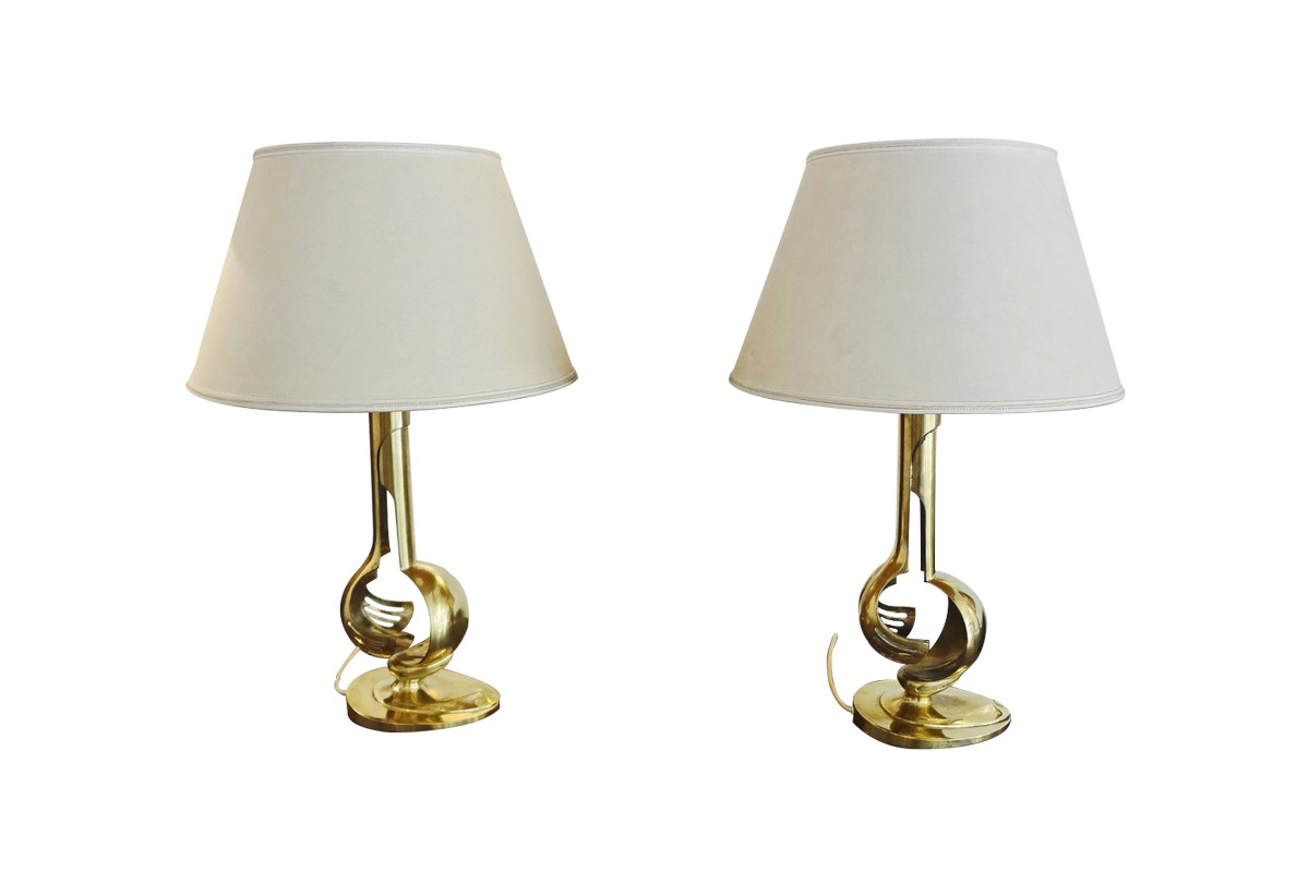 Pair of gilt brass table lamps