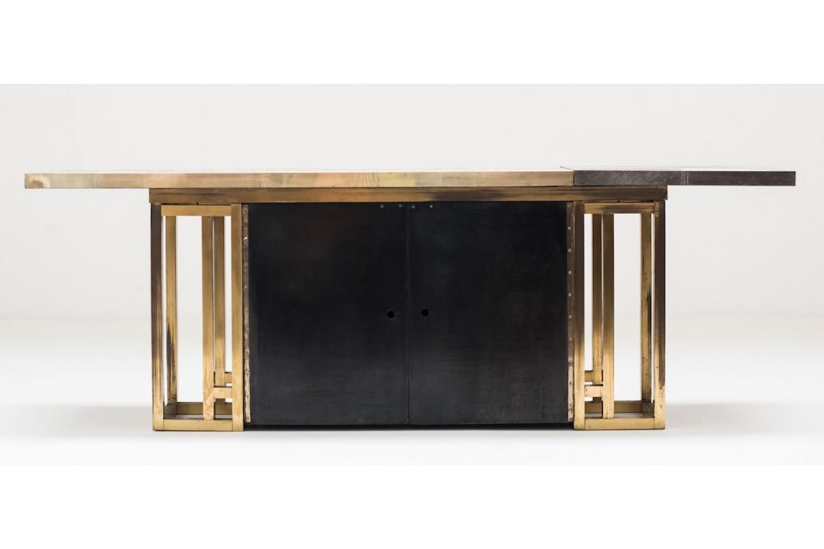 Engraved brass console